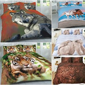 3D Wild Animals Duvet Cover Sets (Horses, Leopard, PolarBear, Tiger & Wolf) PolyCotton 18