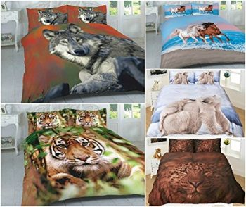 3D Wild Animals Duvet Cover Sets (Horses, Leopard, PolarBear, Tiger & Wolf) PolyCotton 5