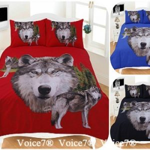 "3D Duvet Cover Set ""WOLVES"" PolyCotton Fabric 24"