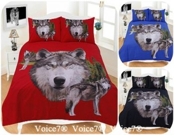 "3D Duvet Cover Set ""WOLVES"" PolyCotton Fabric 16"