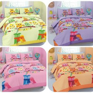 "Duvet Cover Sets ""CUTE-OWLS"" 5 Colors PolyCotton Fabric 6"