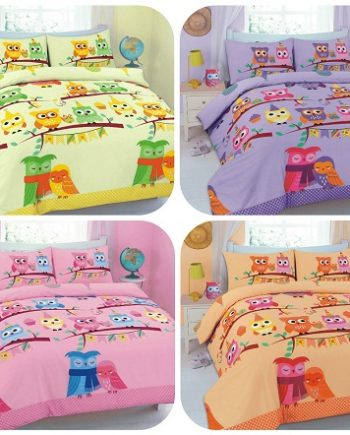 "Duvet Cover Sets ""CUTE-OWLS"" 5 Colors PolyCotton Fabric All Best 2 2 350x435"