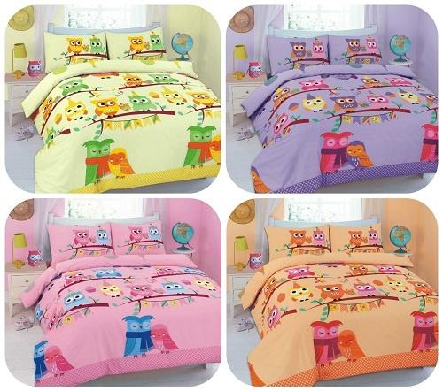 """Duvet Cover Sets """"CUTE-OWLS"""" 5 Colors PolyCotton Fabric 1"""