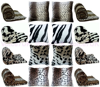 Animal FAUX FUR MINK Throws / Blankets – PolyCotton Fabric Animal FAUX THROW