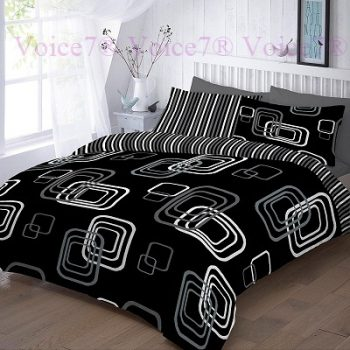 "Luxury ""BLAKE"" Black Duvet Cover Set - PolyCotton Fabric 14"