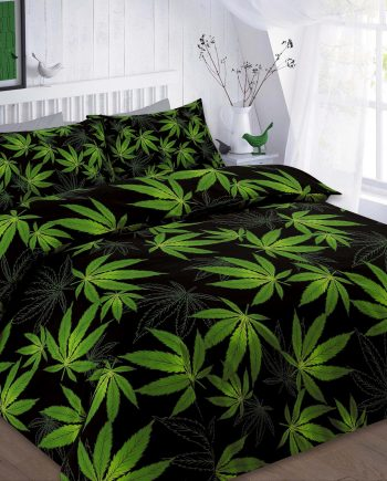 CANNABIS Duvet Cover Set with PillowCases , PolyCotton Fabric CANNABIS BLACK 350x435