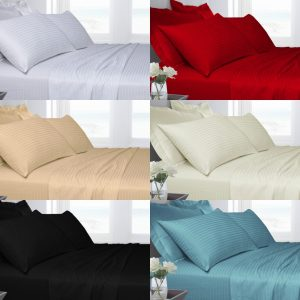 T250 Satin-Stripe FITTED Bed Sheets 100% COTTON 4