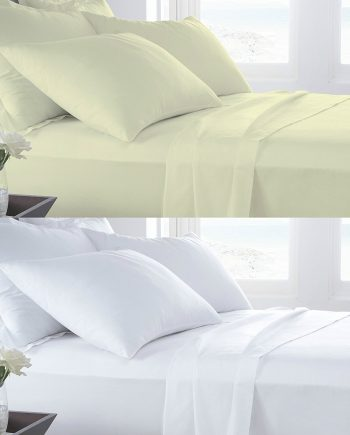 T400 PERCALE 100% Cotton FLAT Bed Sheets – 400 THREAD COUNTS Combined 2 350x435