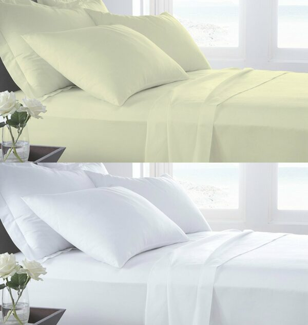 T400 PERCALE 100% Cotton FLAT Bed Sheets - 400 THREAD COUNTS 1