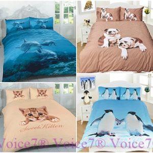 3D Duvet Cover Sets (Dolphin, Penguin, Pug & Kitten) PolyCotton Fabric 6
