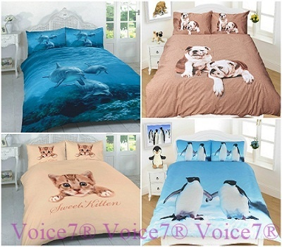 3D Duvet Cover Sets (Dolphin, Penguin, Pug & Kitten) PolyCotton Fabric Combined 6