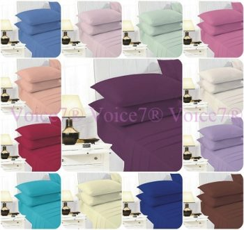 """EASY CARE 16"""" Deep-Fitted Sheets with PillowCases PolyCotton Fabric 2"""