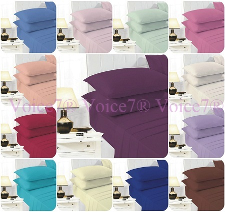 """EASY CARE 16"""" Deep-Fitted Sheets with PillowCases PolyCotton Fabric 1"""