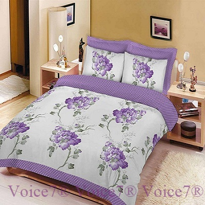 """FLORAL SKETCH"" Flowery Duvet Cover Set – LILAC PolyCotton Fabric Lilac 9"