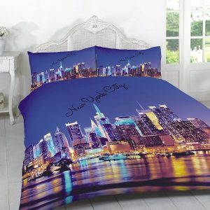 "3D Duvet Sets ""LONDON & NEW YORK"" PolyCotton Fabric 20"