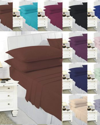 EASY CARE Fitted Bed Sheets PolyCotton Fabric Normal Fitted 350x435