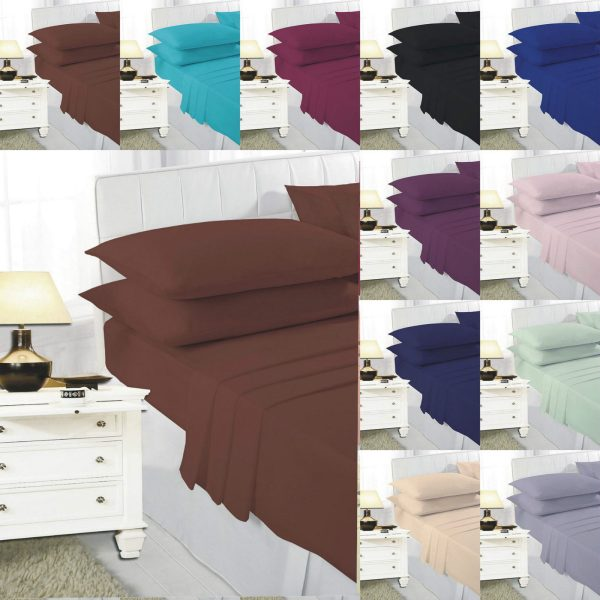 EASY CARE Fitted Bed Sheets PolyCotton Fabric 1