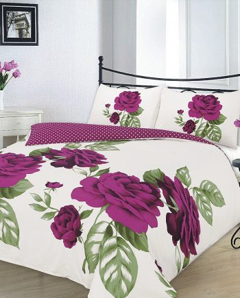 "Duvet Cover Sets ""ISABELLA"" PolyCotton Fabric Plum 3 350x435"