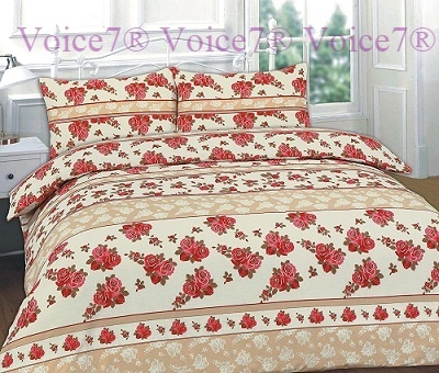 "Flowery ""ROSES"" Red Duvet Cover Set - PolyCotton Fabric 1"