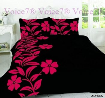 Luxury ALYSSA Red-Black Duvet Cover Set - PolyCotton Fabric 16