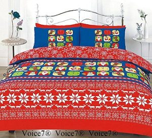 CHRISTMAS FESTIVE Duvet Cover Set - PolyCotton Fabric 4