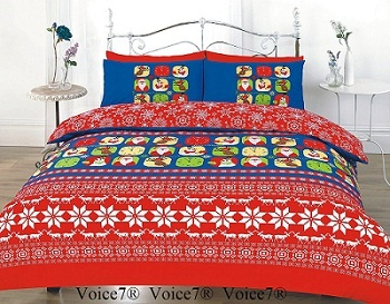 CHRISTMAS FESTIVE Duvet Cover Set – PolyCotton Fabric Red XMAS R