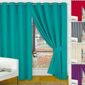 Pair of FAUX SILK Ready Made Curtains - Colors & Sizes Available 2