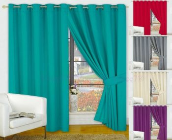 Pair of FAUX SILK Ready Made Curtains - Colors & Sizes Available 3