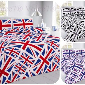 Union Jack OR England Flag Duvet Cover Sets, 3 Colors & UK SIZES, PolyCotton 10