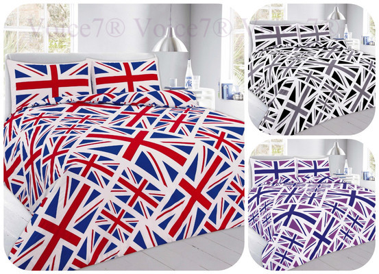 Union Jack OR England Flag Duvet Cover Sets, 3 Colors & UK SIZES, PolyCotton 1