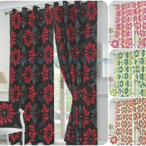 PETAL Flowery Fully Lined Half PANAMA CURTAINS - Ready Made 3 Curtain Colors 4