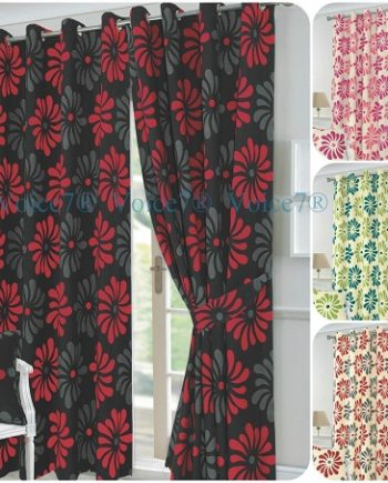 PETAL Flowery Fully Lined Half PANAMA CURTAINS – Ready Made 3 Curtain Colors PETAL