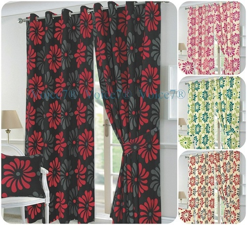 PETAL Flowery Fully Lined Half PANAMA CURTAINS - Ready Made 3 Curtain Colors 1