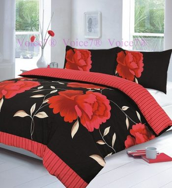 "Flowery ""ROSALEEN"" Red-Black Duvet Cover Set, PolyCotton 12"