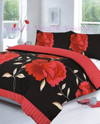 "Flowery ""ROSALEEN"" Red-Black Duvet Cover Set, PolyCotton Red Black R 350x435"