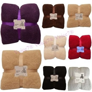 Super Soft Cuddly Thick TEDDY BEAR THROWS SOFA BED BLANKET THROW (DOUBLE & KING Sizes) 3