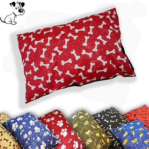 Pack of 2 DOG BED Filled Pillows | Washable Cover ~ SIZES: Medium, Large & X-Large | 1