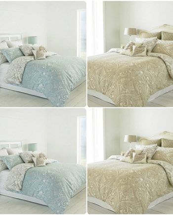 CHATSWOTH Heritage Duvet Cover Set & Pillowcases ~ Reversible DAMASK Scroll Design Combined 2 350x435