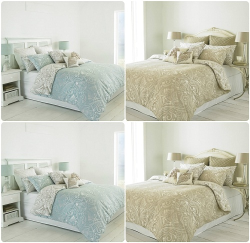 CHATSWOTH Heritage Duvet Cover Set & Pillowcases ~ Reversible DAMASK Scroll Design 1