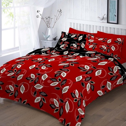 GRACE Red Duvet Cover Set with PillowCases | PolyCotton~UK SIZES | 1