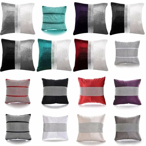 Magic DIAMANTE Two Tone Fancy Cushions Covers Only - Home Sofa Bed Car Decorative Cushions 1