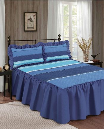 Decent CARTER Quilted Bedspread with Sham Pillow Cases 23″ Deep VALANCE Style Striped Bedspread Blue 350x435