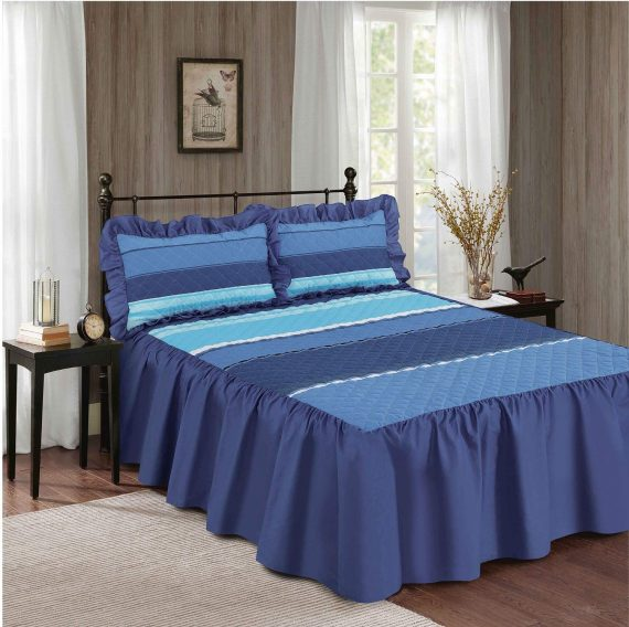 Decent CARTER Quilted Bedspread with Sham Pillow Cases 23″ Deep VALANCE Style Striped Bedspread Blue 570x568