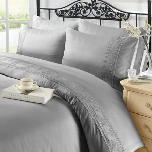 Voice7 Luxurious Charlotte Lace Duvet Cover With Pillow Cases 100% Polyester Quilt Bedding Set 18