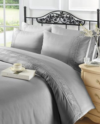 Voice7 Luxurious Charlotte Lace Duvet Cover With Pillow Cases 100% Polyester Quilt Bedding Set Charlotte Lace Silver 350x435