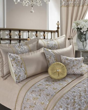 Voice 7 Soft Elegant Design Embroidery Bedding Bedroom Collection UK Sizes Elena 350x435