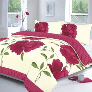 "Luxury ROSALEEN ""Poppy Flower"" Duvet Cover Set with Pillowcases 30"