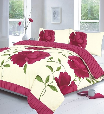 "Luxury ROSALEEN ""Poppy Flower"" Duvet Cover Set with Pillowcases 1"