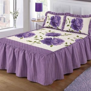 "Luxurious ROSALEEN Quilted Bedspread Floral VALANCE Style 23"" Deep Frilled Bedspread with Pillow Shams 10"