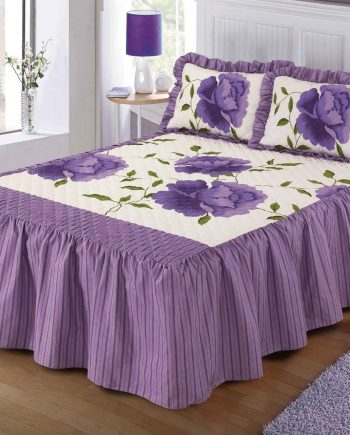 Luxurious ROSALEEN Quilted Bedspread Floral VALANCE Style 23″ Deep Frilled Bedspread with Pillow Shams Lilac 350x435